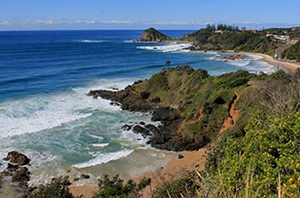 Picture of the coastline at Rocky Beach courtesy of Port Macquarie-Hastings Council