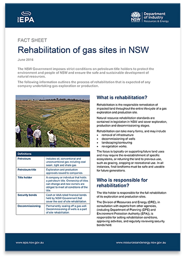 Rehabilitation of gas sites in NSW