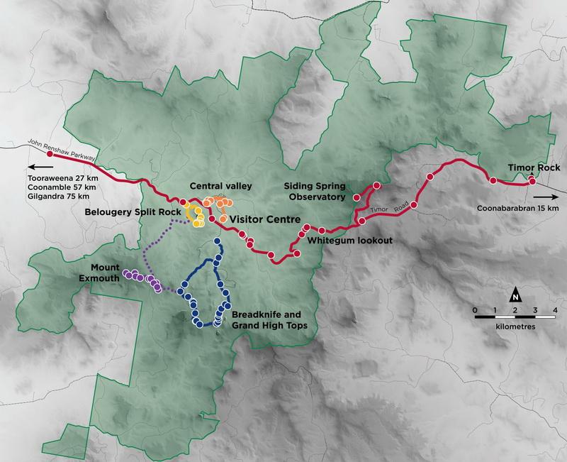 Map of Warrumbungle National Park geotrails
